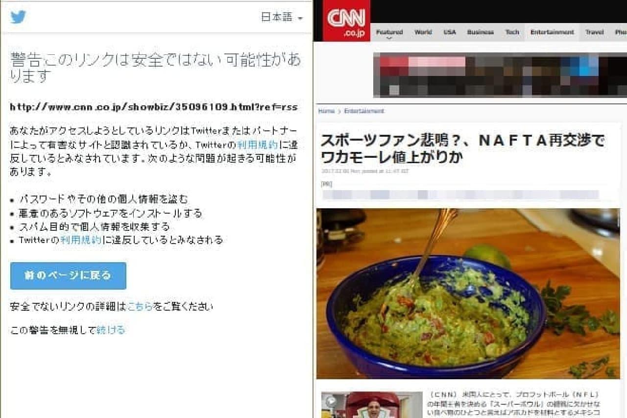 TwitterとCNNの画像