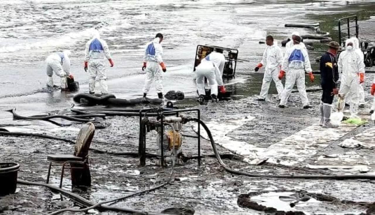 石油流出による汚染のようす
