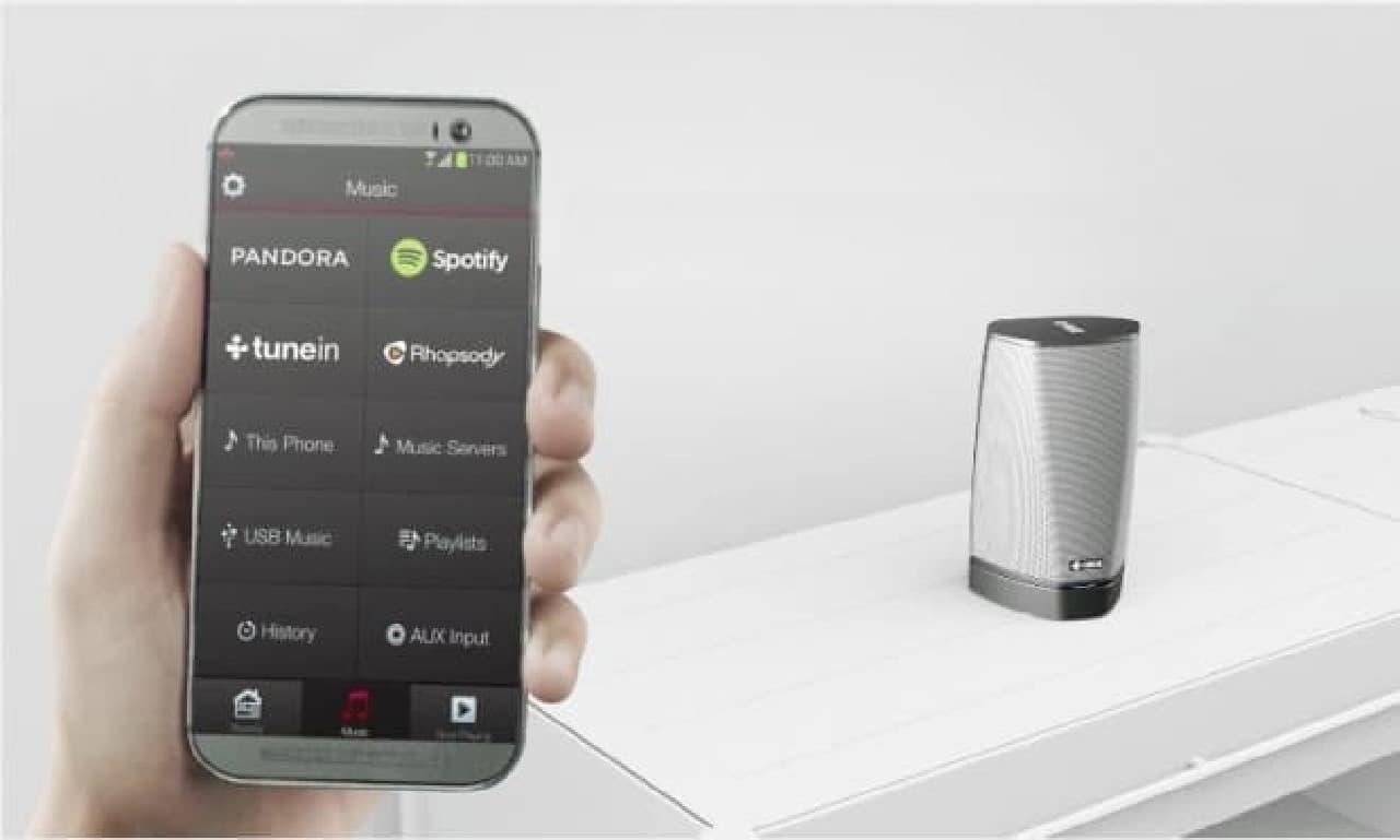 スマートフォンによる設定風景