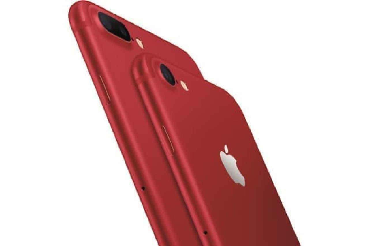 真紅のiPhone 7のアップ