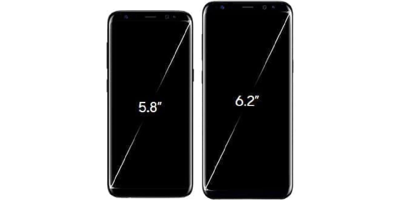 Galaxy 8と8+のサイズ比較
