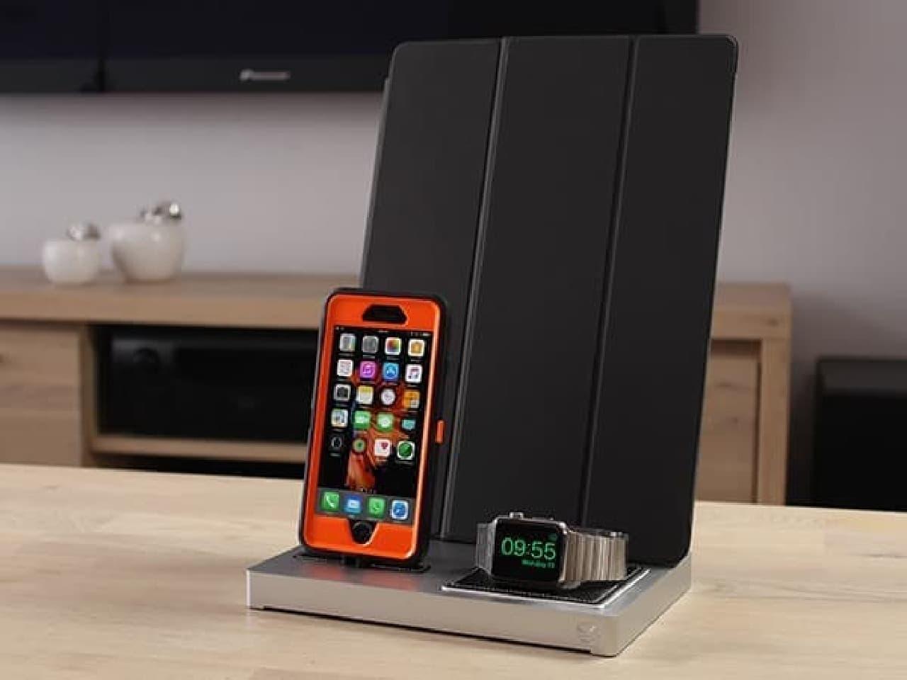 スマートフォンカバーやキーボードケースを装着したままで充電が可能なAppleデバイス専用Dock「エボラス3」
