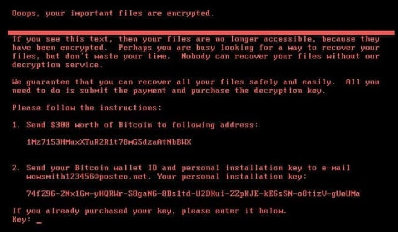 Petyaの脅迫画面例