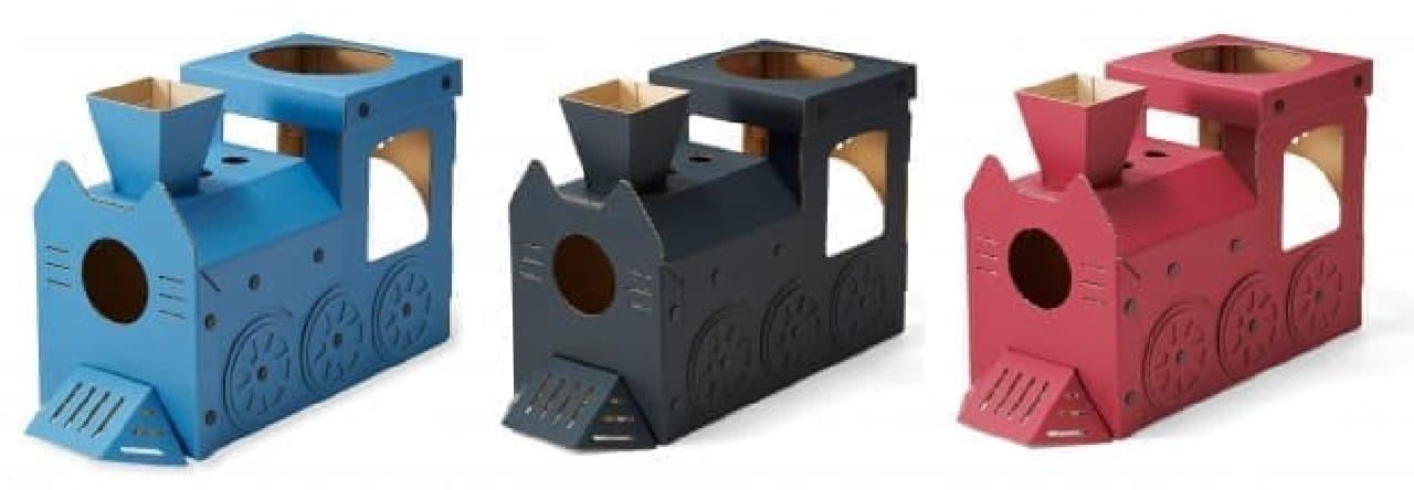 ンボール製のツメ研ぎハウス「つめとぎ猫機関車」