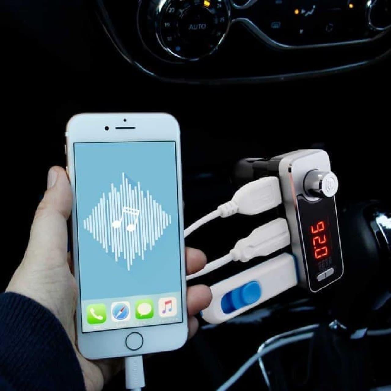 iPhoneの音楽をクルマの中でも楽しめるBluetooth FMトランスミッター