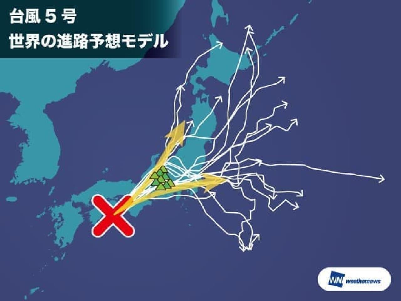 台風5号の進路モデル