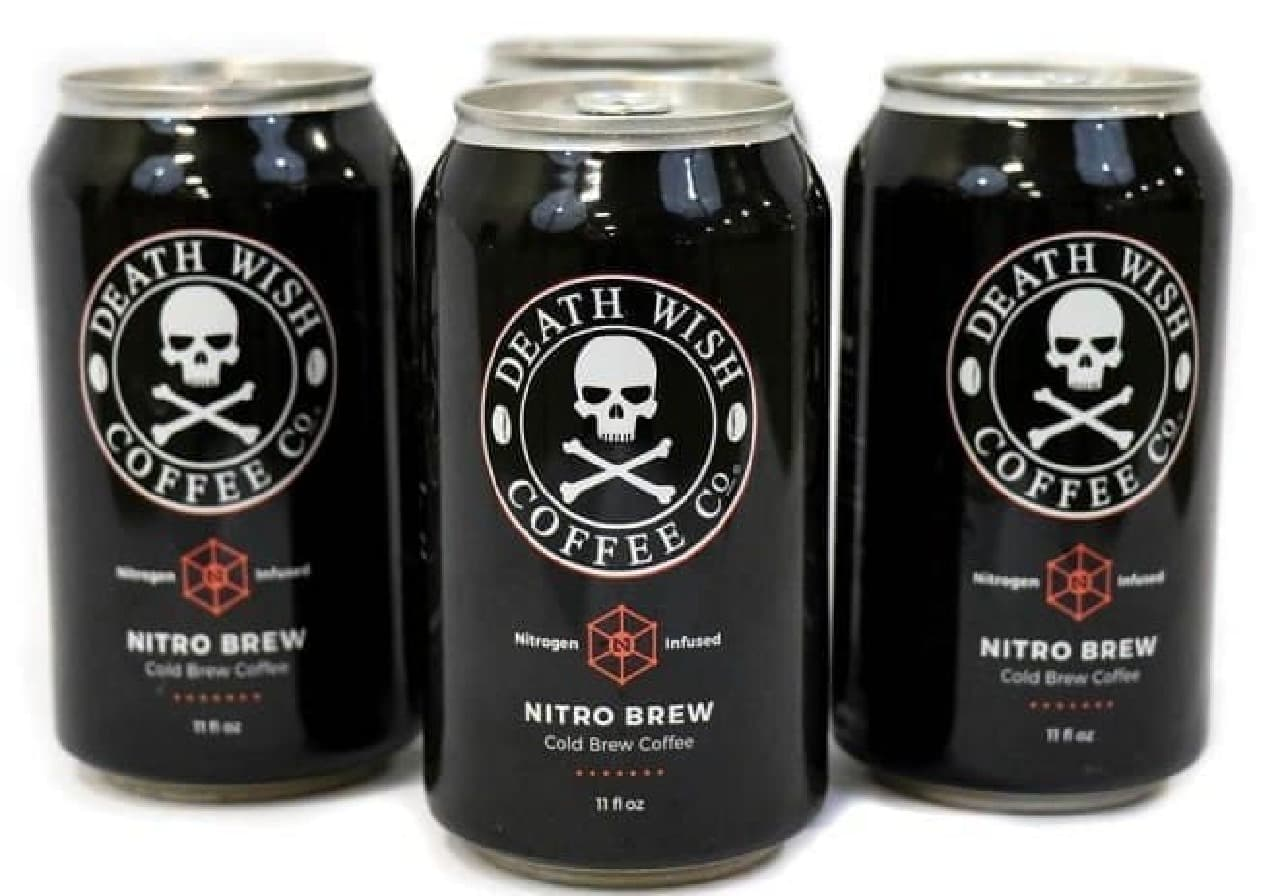 「Death Wish Coffee(死の願望コーヒー)」の缶入り4個入りパッケージ「DEATH WISH NITRO BREW」