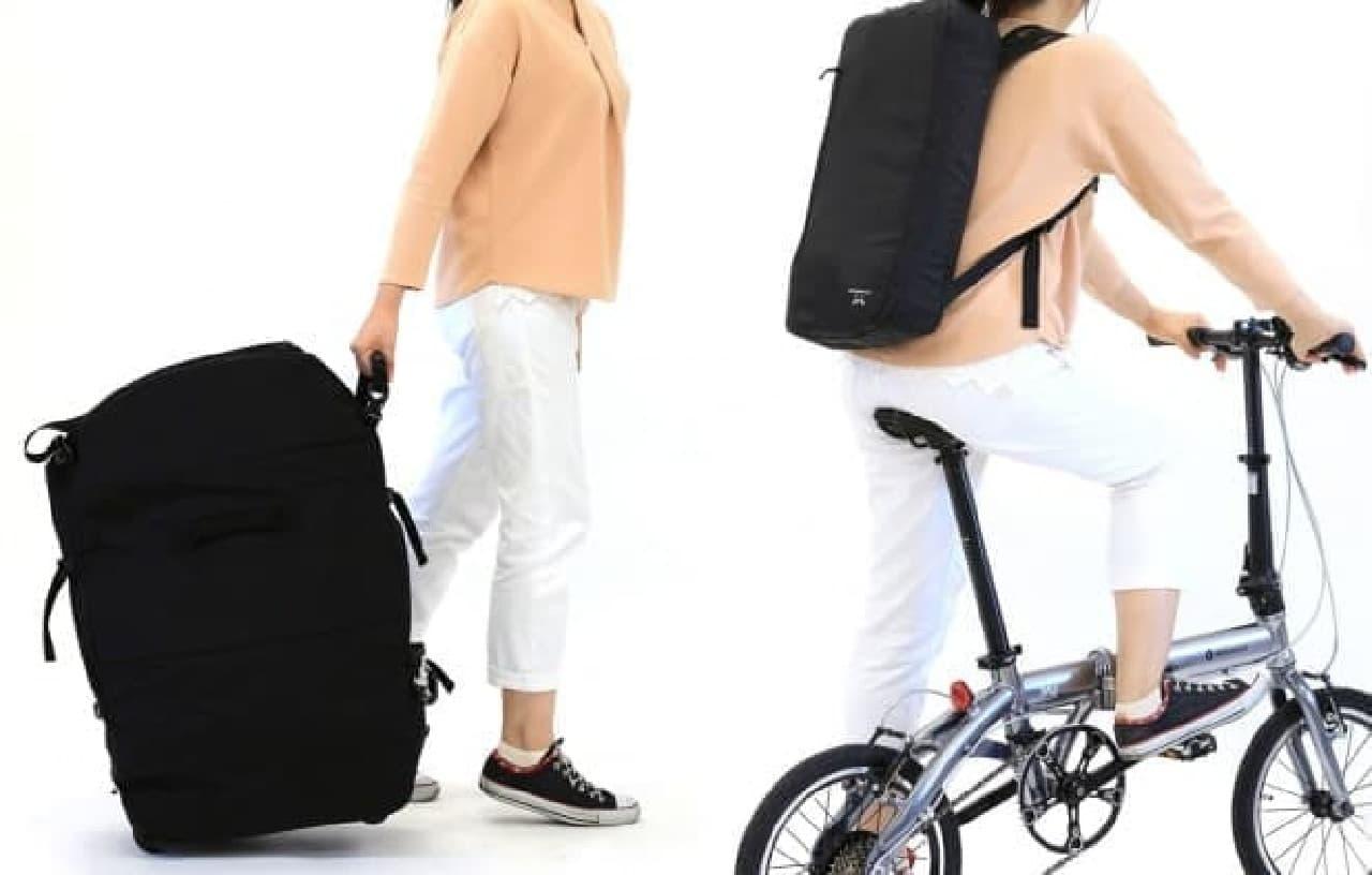 折り畳み自転車用のキャリーバッグ「キャスター付き3WAYバッグ」