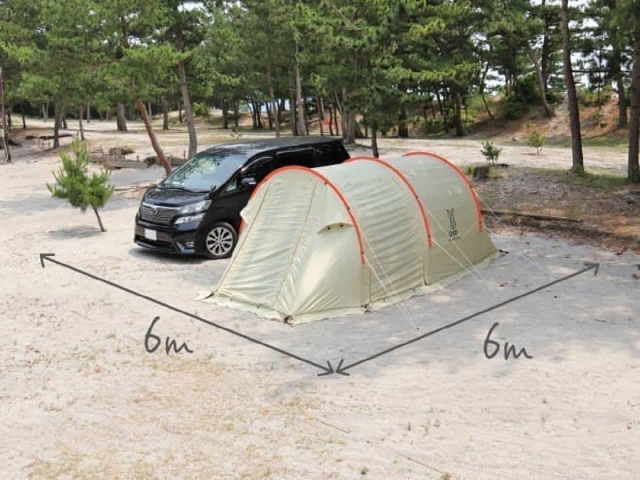 かまぼこ型のテントに、小さめサイズの「カマボコテントミニ」