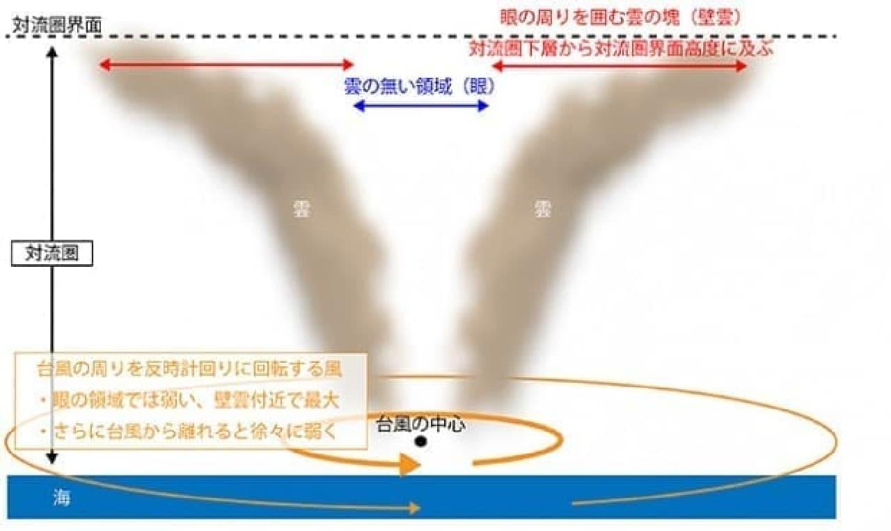 台風と壁雲のイメージ