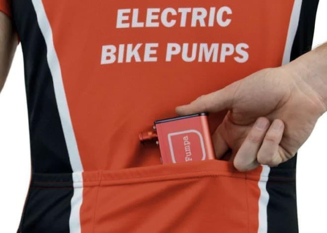 ポケットに入る自転車用の電動空気入れ「miniFumpa」