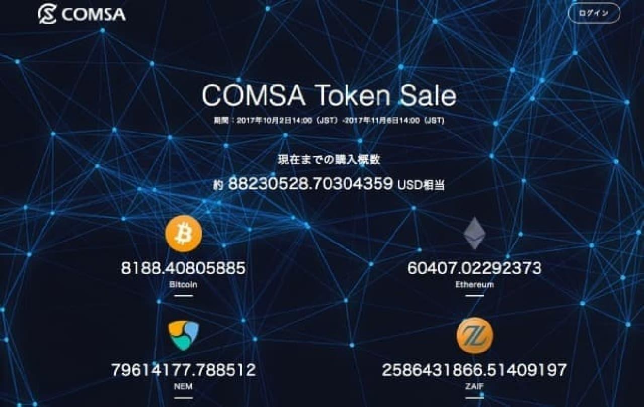 COMSAのトークンセールイメージ