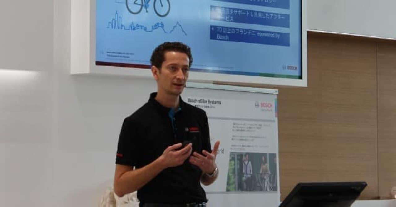 ボッシュの電動アシスト自転車用ユニットのアジア太平洋地域統括を務めるフアド・ベニーニ氏