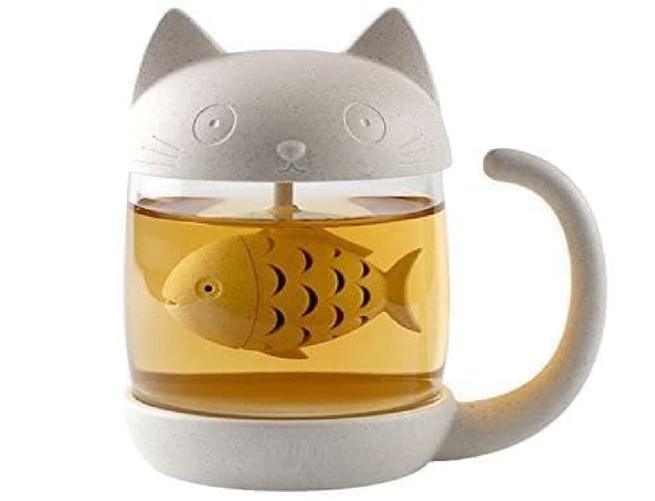 ネコ型ティーマグ「Cute Cat Tea Mug with Lid Fish Tea Infuser」