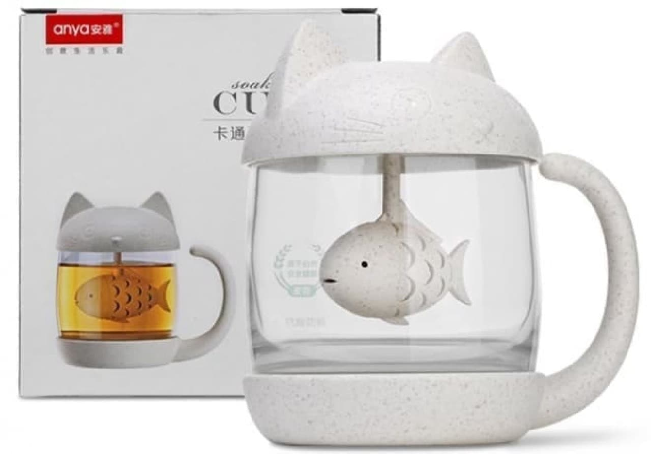 コ型ティーマグ「Cute Cat Tea Mug with Lid Fish Tea Infuser」―