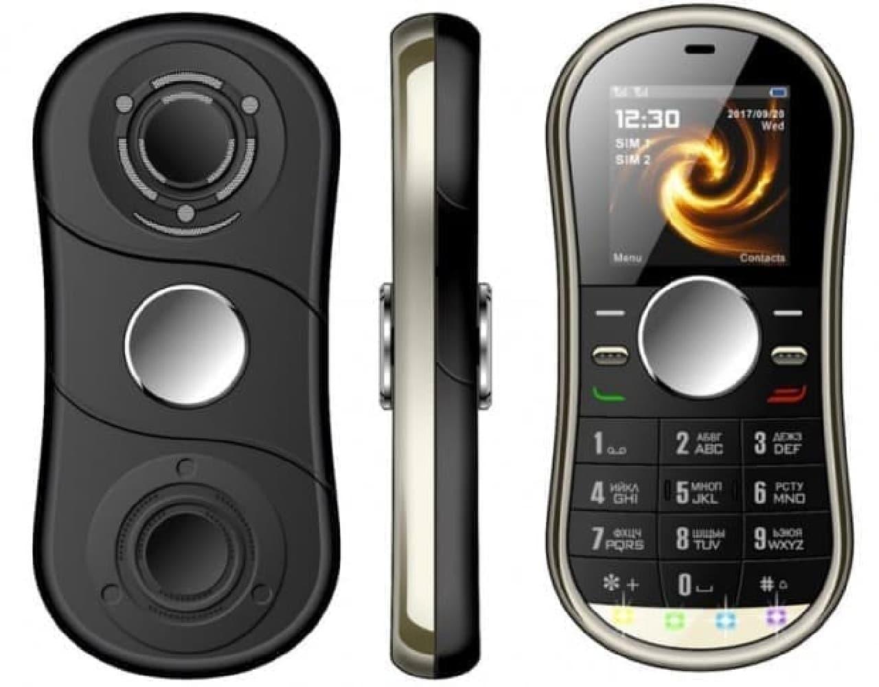 中毒性の高い「ハンドスピナー」型携帯電話「Servo S08」