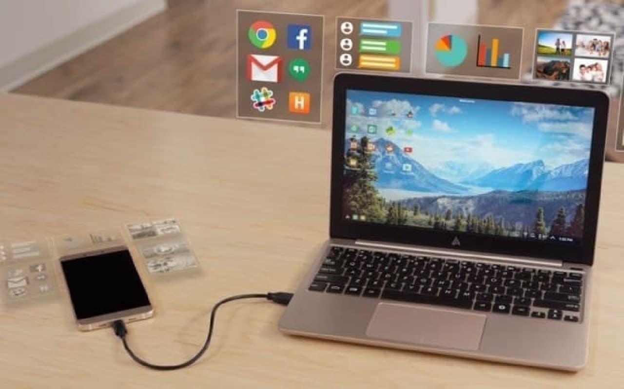 参考画像:スマートフォンをノートPCにする「Superbook」