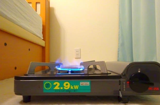 カセットコンロで暖房