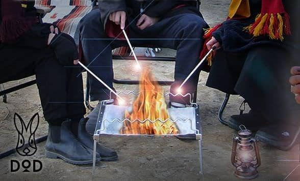 バックパックに入れられる折り畳みBBQグリル兼焚き火台「秘密のグリルさん」