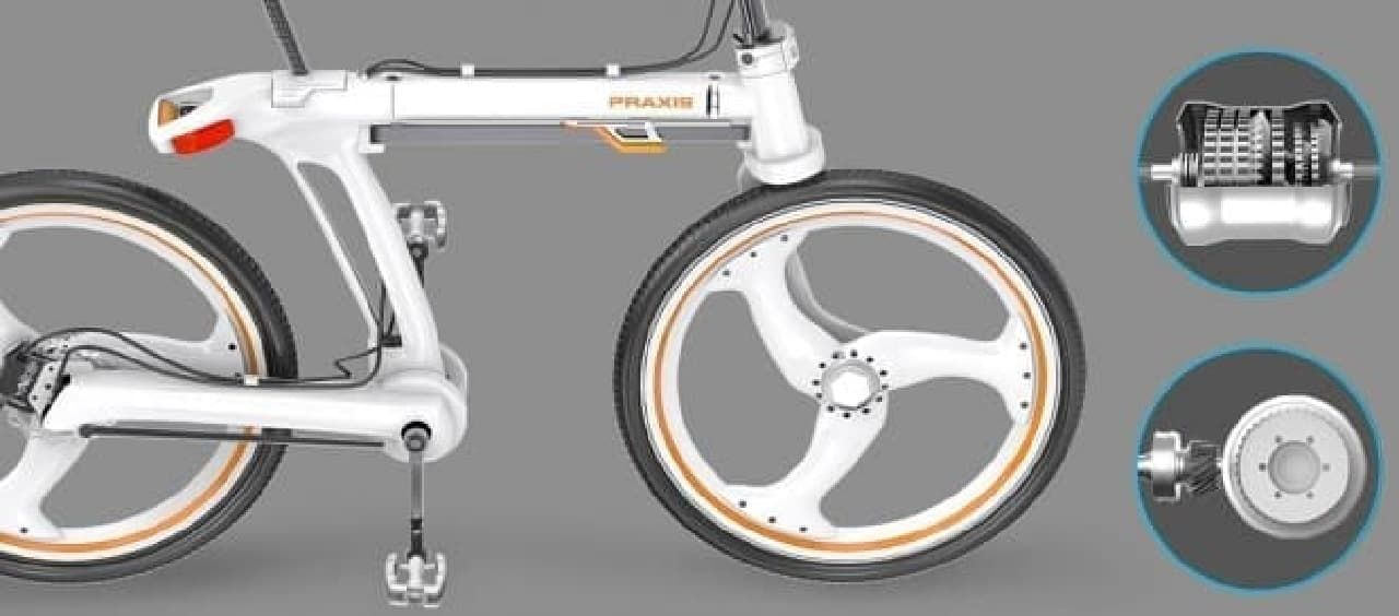 通勤者向けにデザインされた折り畳み自転車「Praxis」-
