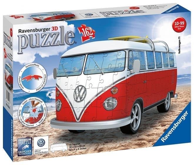 フォルクスワーゲンバスを3Dパズルで楽しむ「Ravensburger Volkswagen T1 Campervan-162ピース3Dパズル」