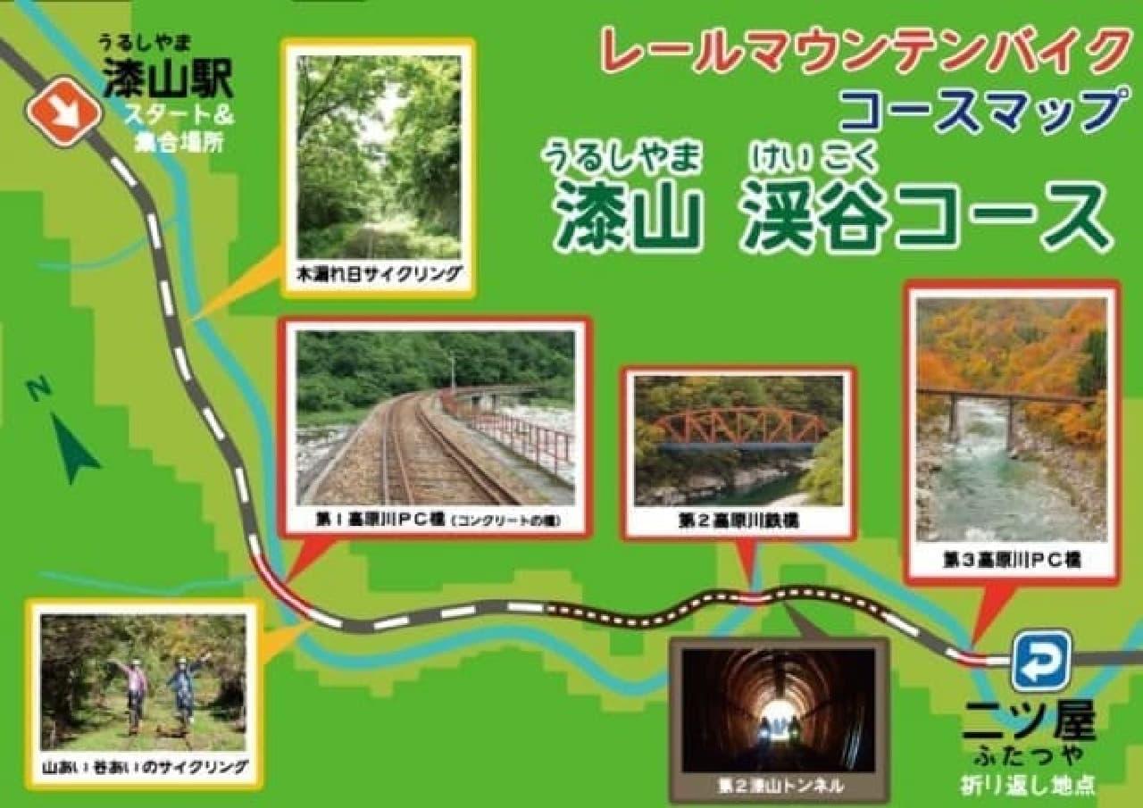 鉄道レール上を自転車で走るGattan Go!!(ガッタンゴー)に、絶景・絶叫(?)が楽しめる「渓谷コース」