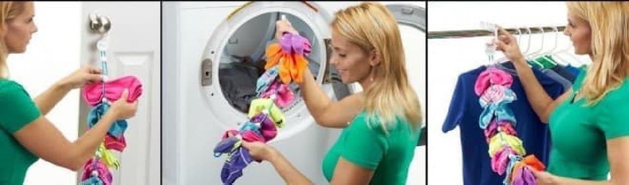ソックスのペアが離れ離れになってしまうことを防ぐ洗濯グッズ「SockDock」