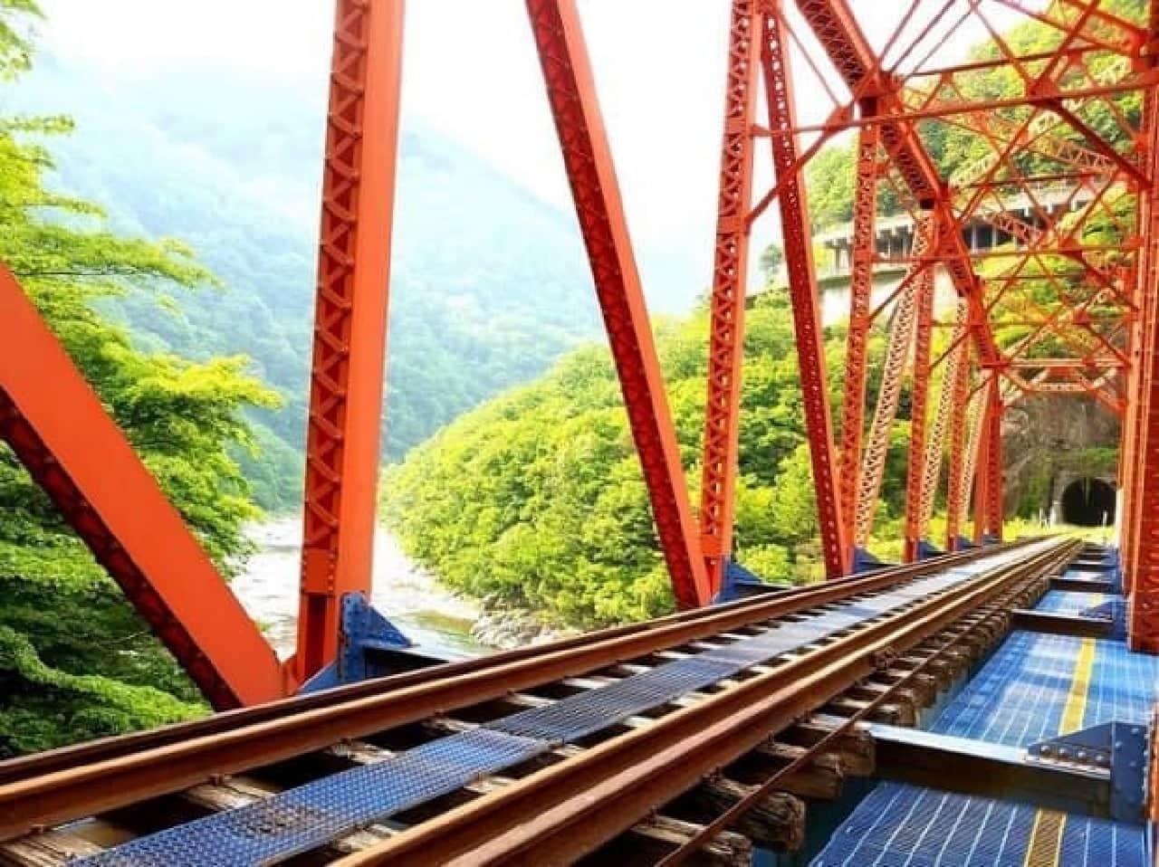 廃線レール上を自転車で走るGattan Go!!(ガッタンゴー)に、絶景を楽しめる「渓谷コース」