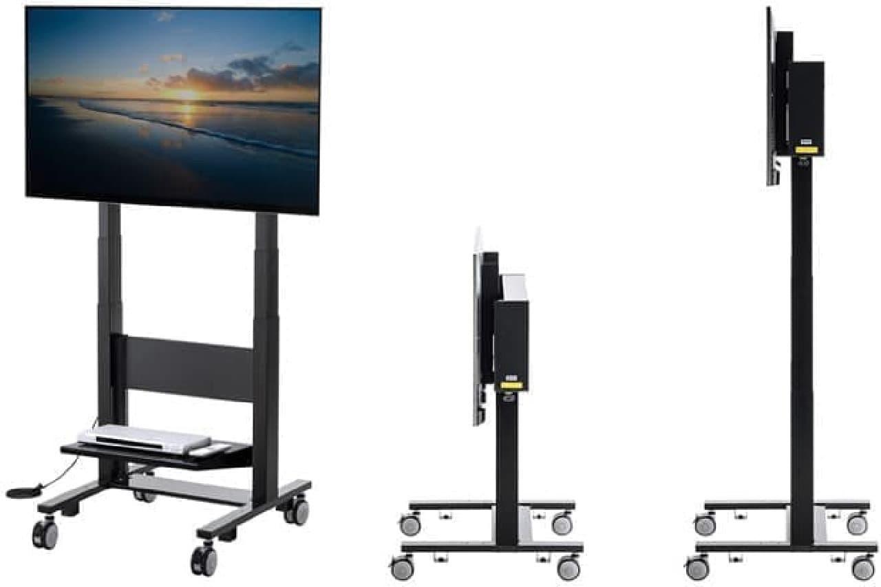 画面の高さを2m程度にまで設定できる電動上下テレビスタンド「CR-PL28BK」