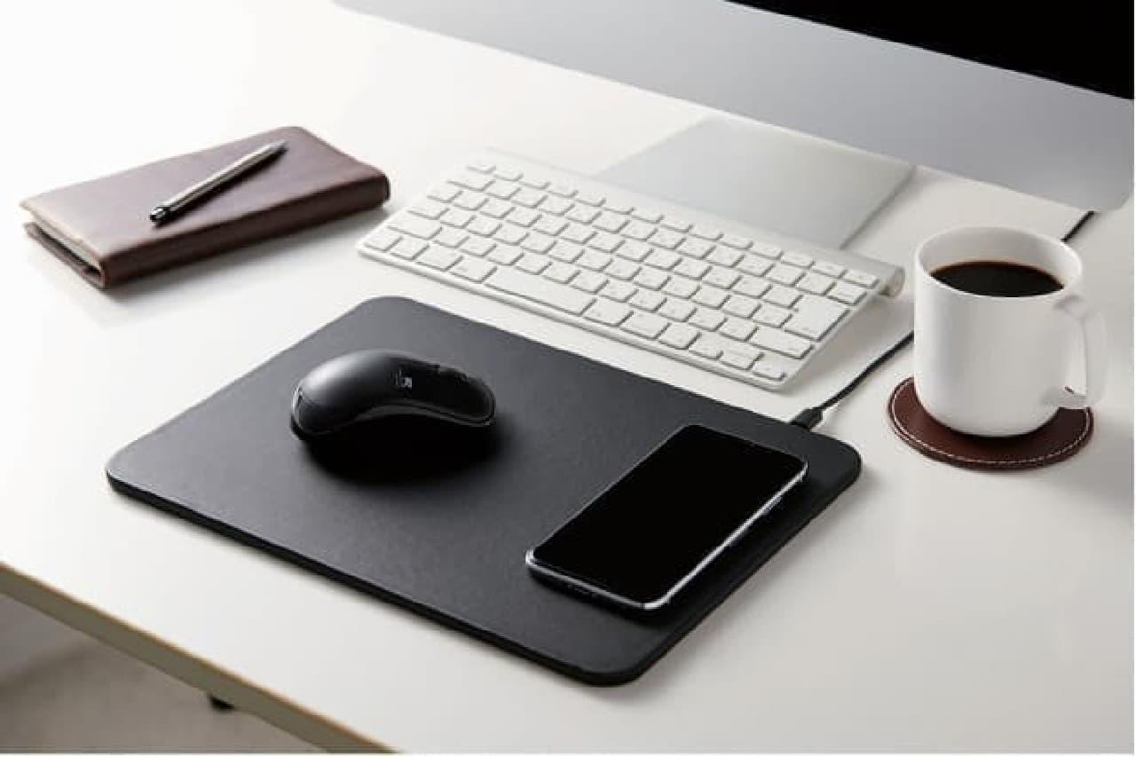 スマホを置くだけで充電できるマウスパッド「MP-WQ01」