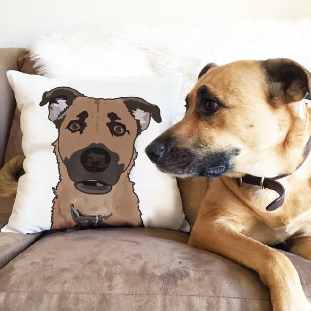 あなたの愛犬/愛猫をクッションにしてくれる「Custom Pet Illustration Pillow」