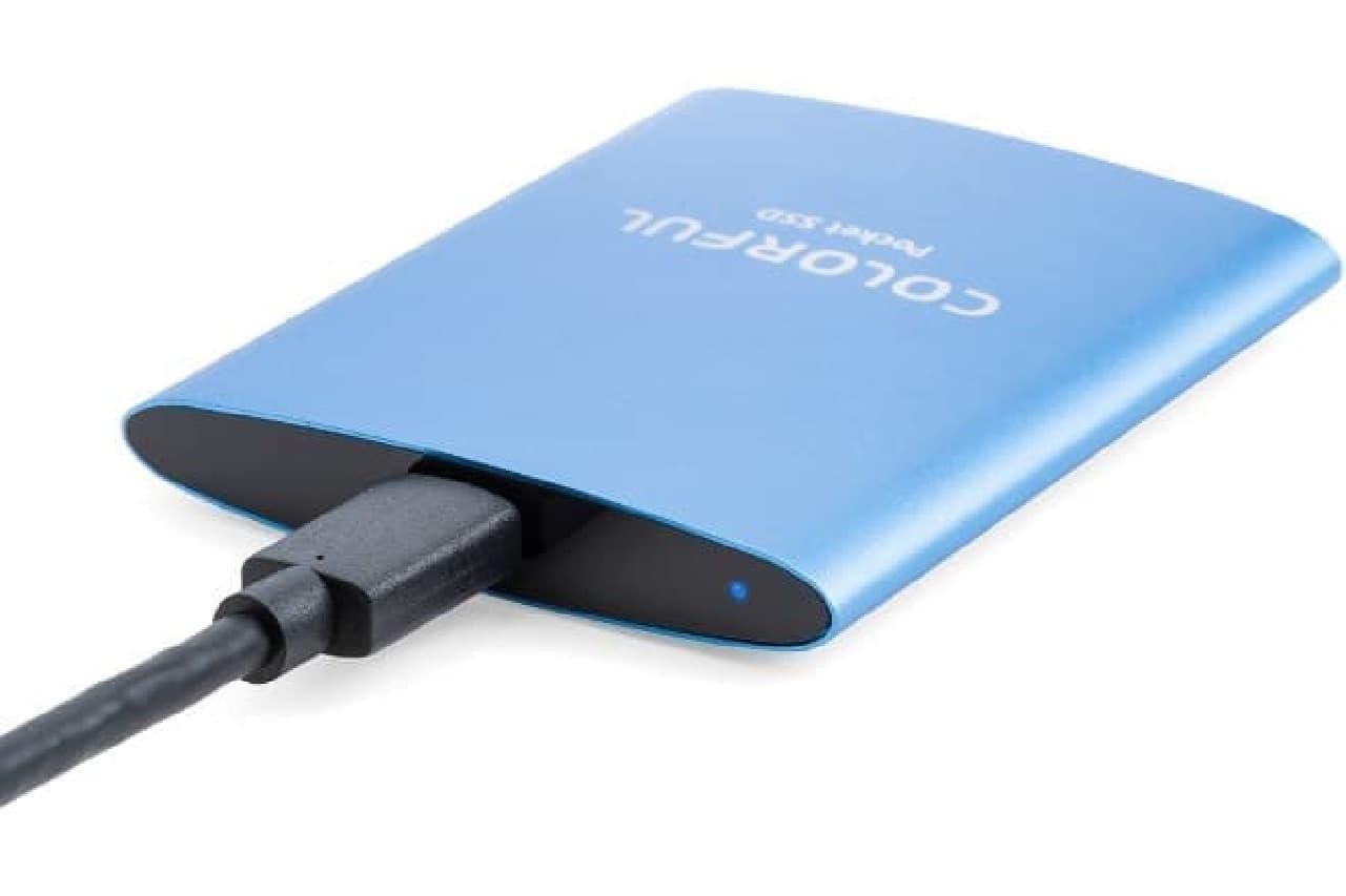 USB Type-C対応、手のひら大のポータブルSSD「P100 1TB」