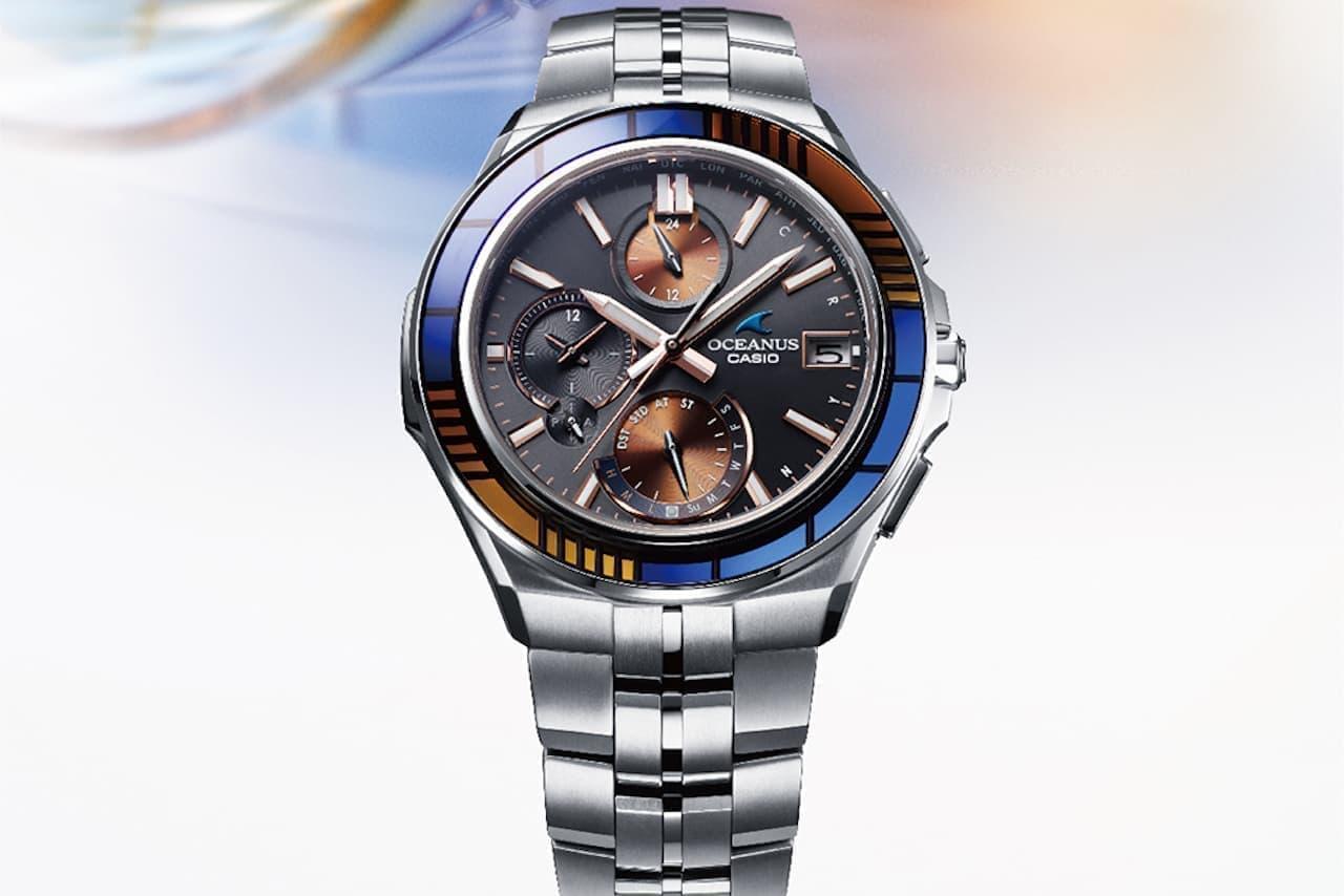 江戸切子で夕方の都会の情景を表現した腕時計「OCW-S5000D」