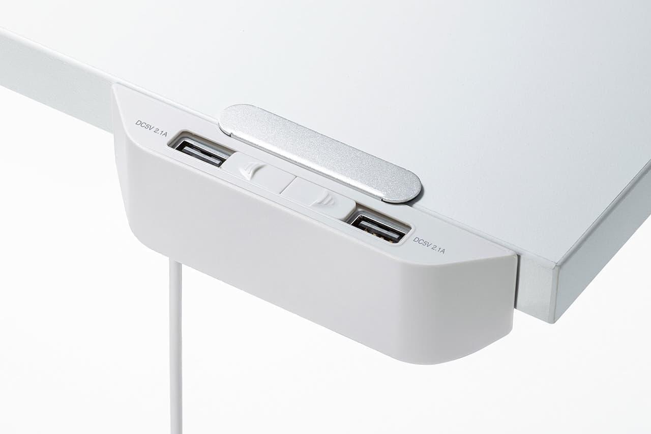 USB充電ポートをデスクや机上ラックへ後付けできるUSB充電器「ACA-IP66」