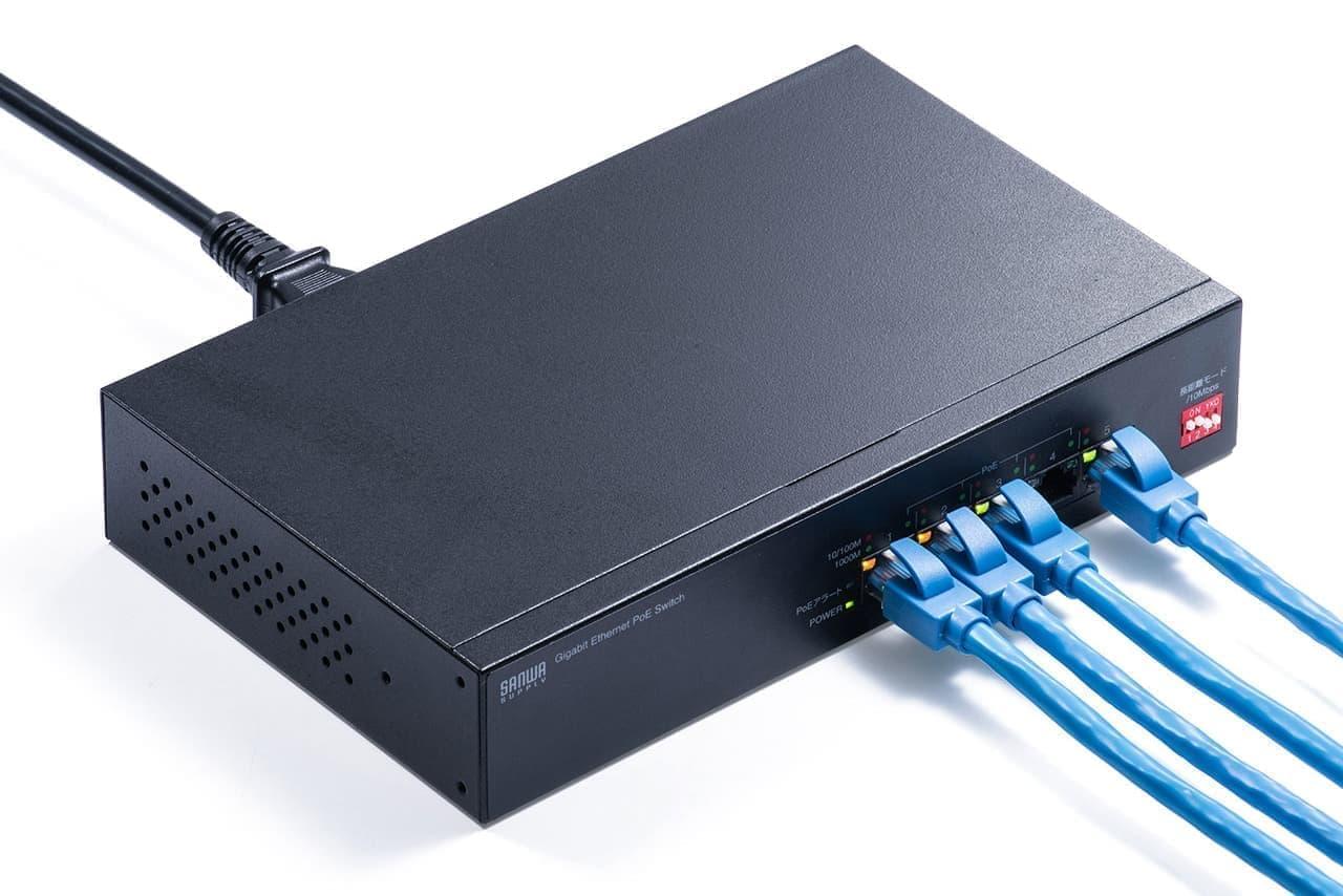 LANケーブルを電源がわりに使えるPoEスイッチングハブ「LAN-GIGAPOE51」