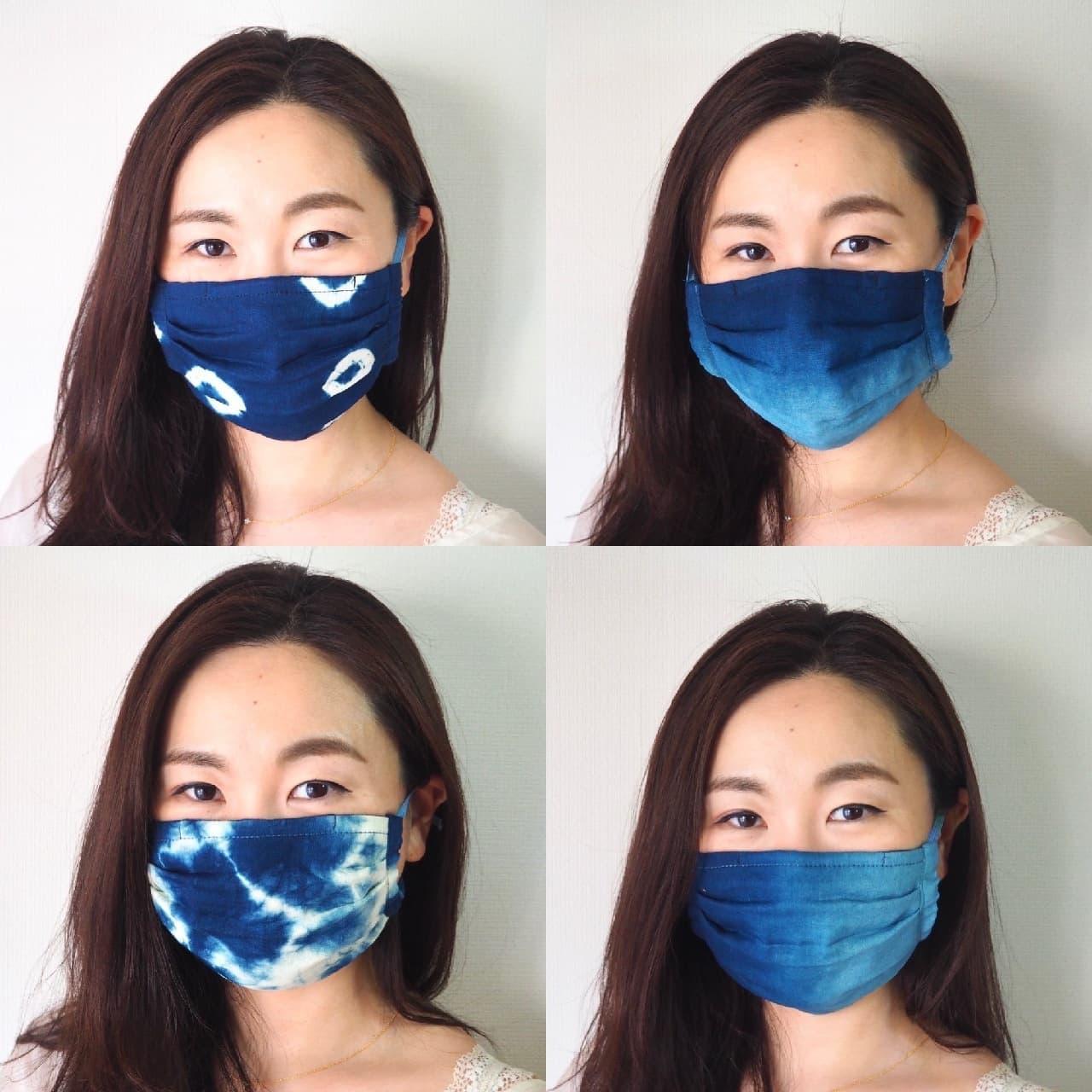 藍染めガーゼ 快適サラサラプリーツマスク