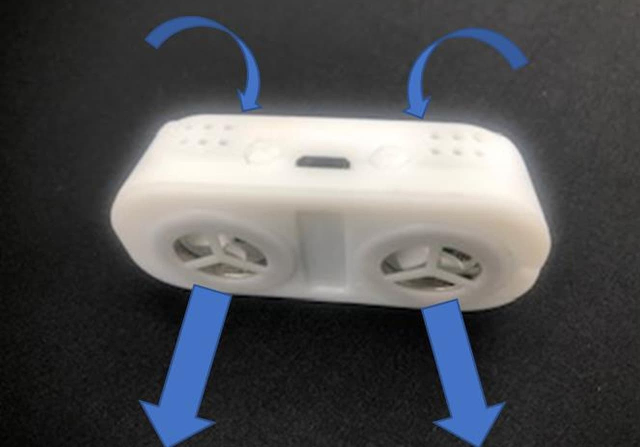 不織布マスクに取り付ける扇風機「マスク扇風機」 USB経由で充電して8時間使える