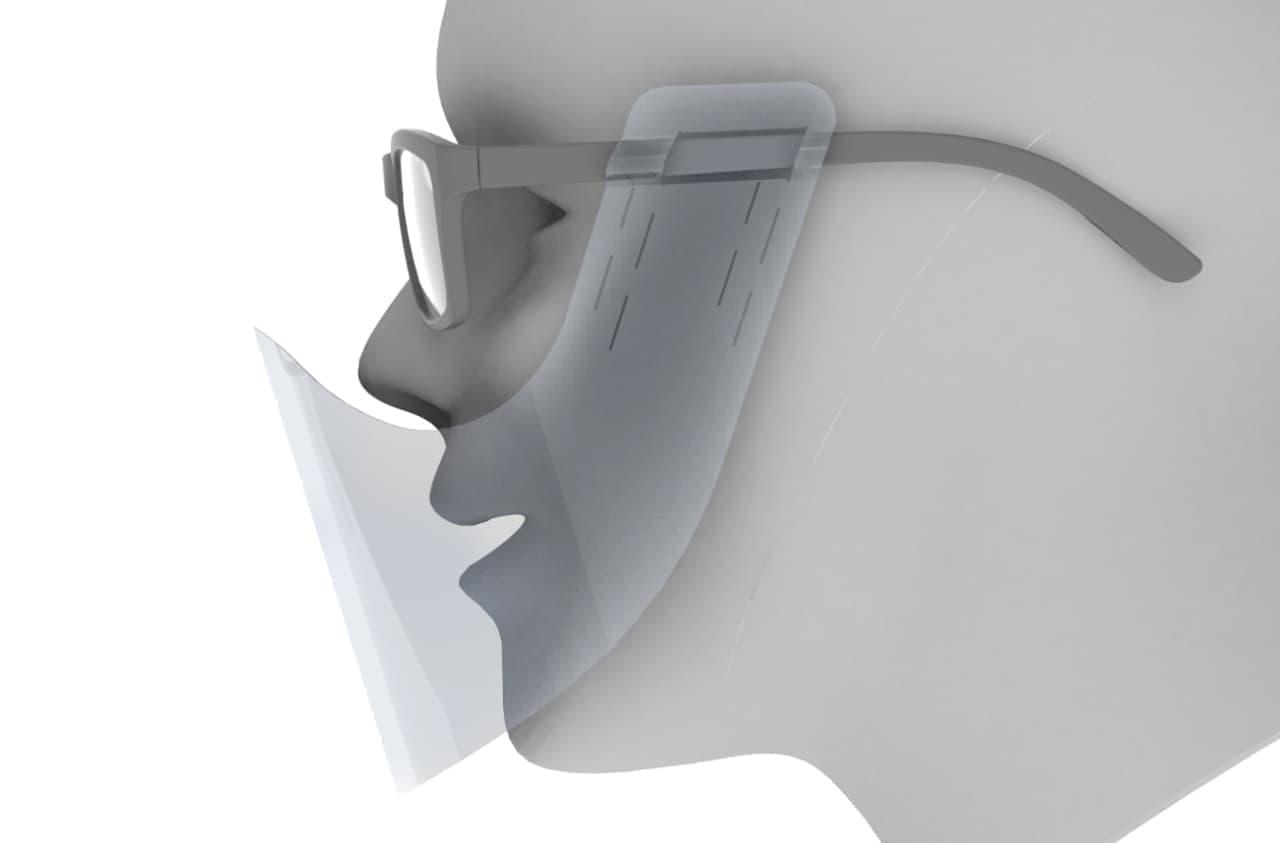 メガネに取り付けて使用する透明マスク「めがね装着型マウスシールド」 -