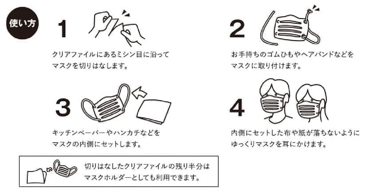 普段はクリアファイル でもいざというときには簡易マスク!「クリアファイル de マスク」