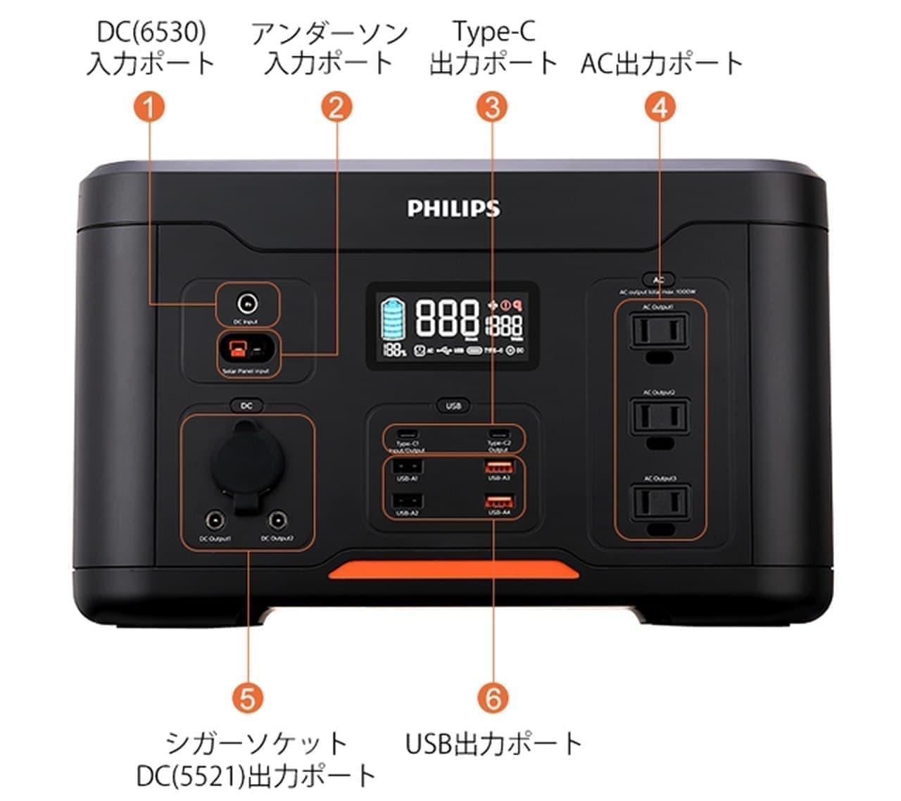 大容量ポータブル電源 PHILIPS「DLP-8092C」