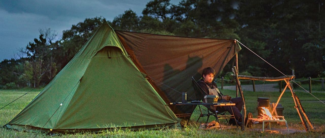【ソロキャン】陣幕風フライシート付きテント「ムシャテント」
