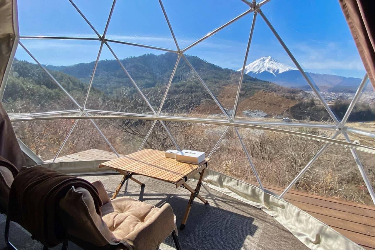 富士山に最も近いまちのグランピング施設に新ドームテント「プレミアムツイン」