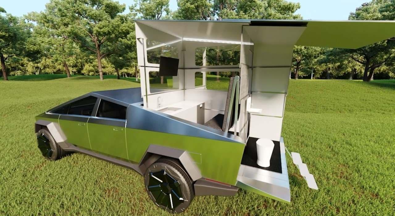 テスラ「サイバートラック」をキャンピングカーにする「CyberLandr」発表 ― 荷台にぴったり収まる!