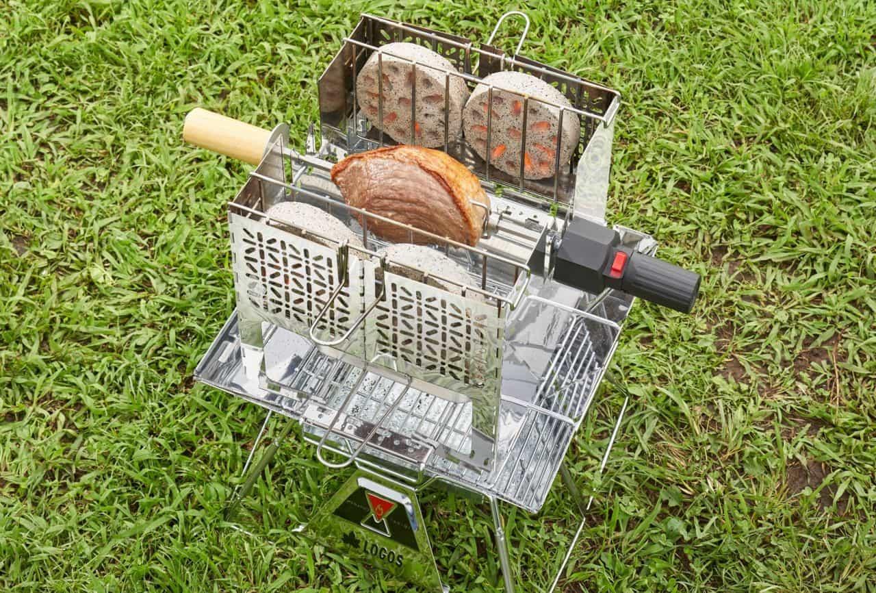 キャンプでバウムクーヘンやシュラスコを焼きたい!自動で回転する「くるくるクッキングリル」