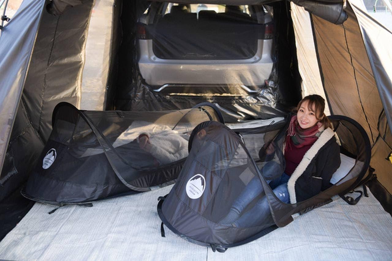 クルマのリアに連結できるテント「カーレックス」Makuakeに登場