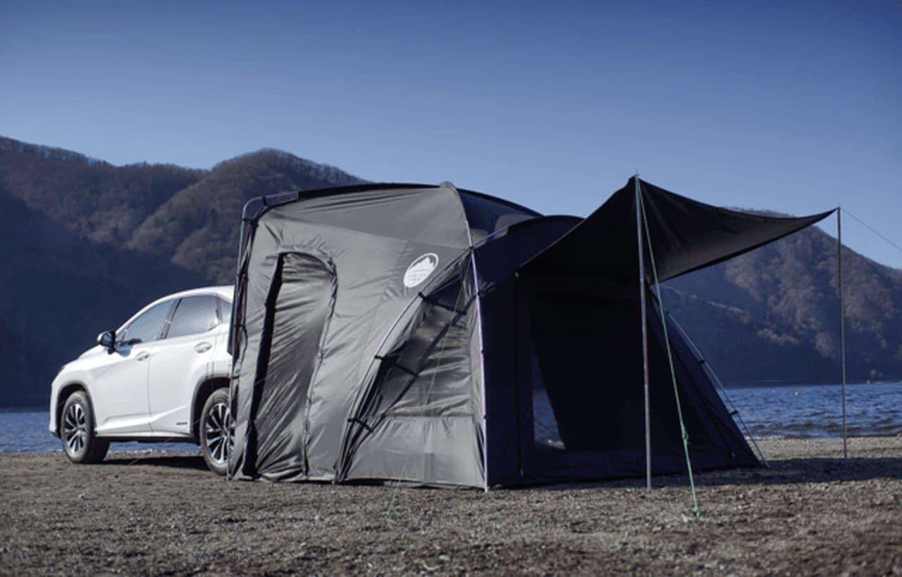 クルマのリアに連結できるテント「カーレックス」