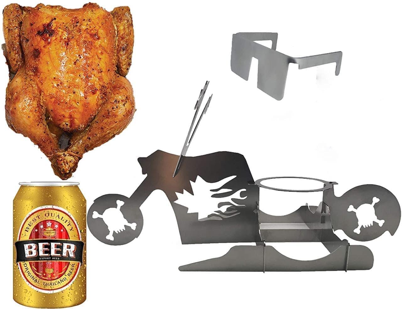 キャンプでも便利な「バイク型 ビア缶チキンスタンド」