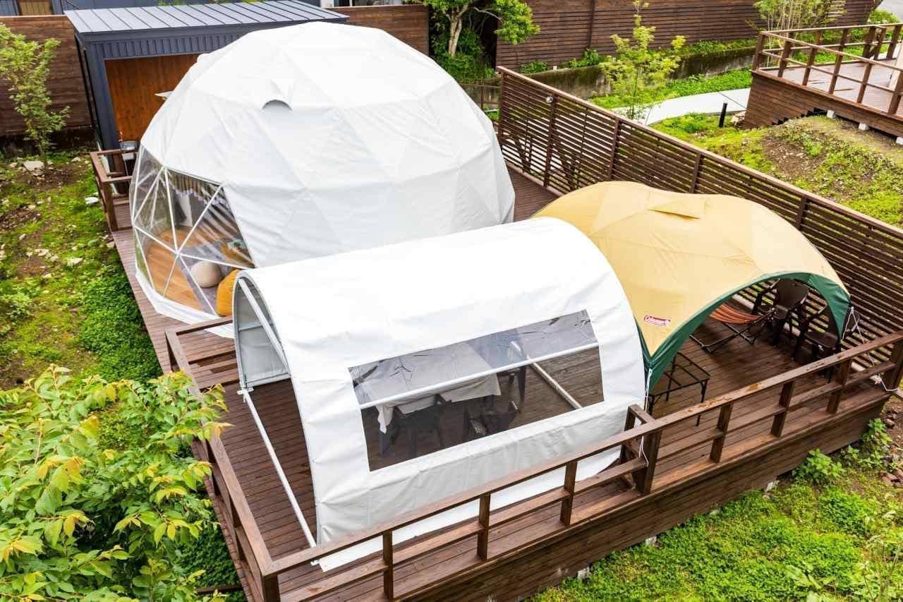 湯布院で温泉グランピング! 「The Village 由布院 温泉グランピング」に温泉付きドーム型テント登場