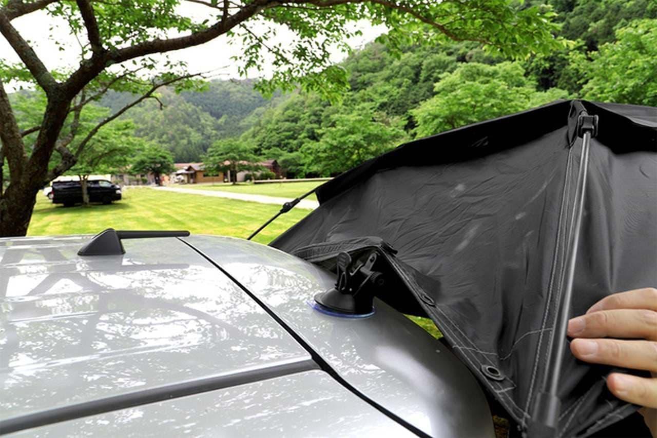 コスパを追求!クルマへの取り付けに吸盤を採用したカーサイドタープ「カラップ」Makuakeに登場