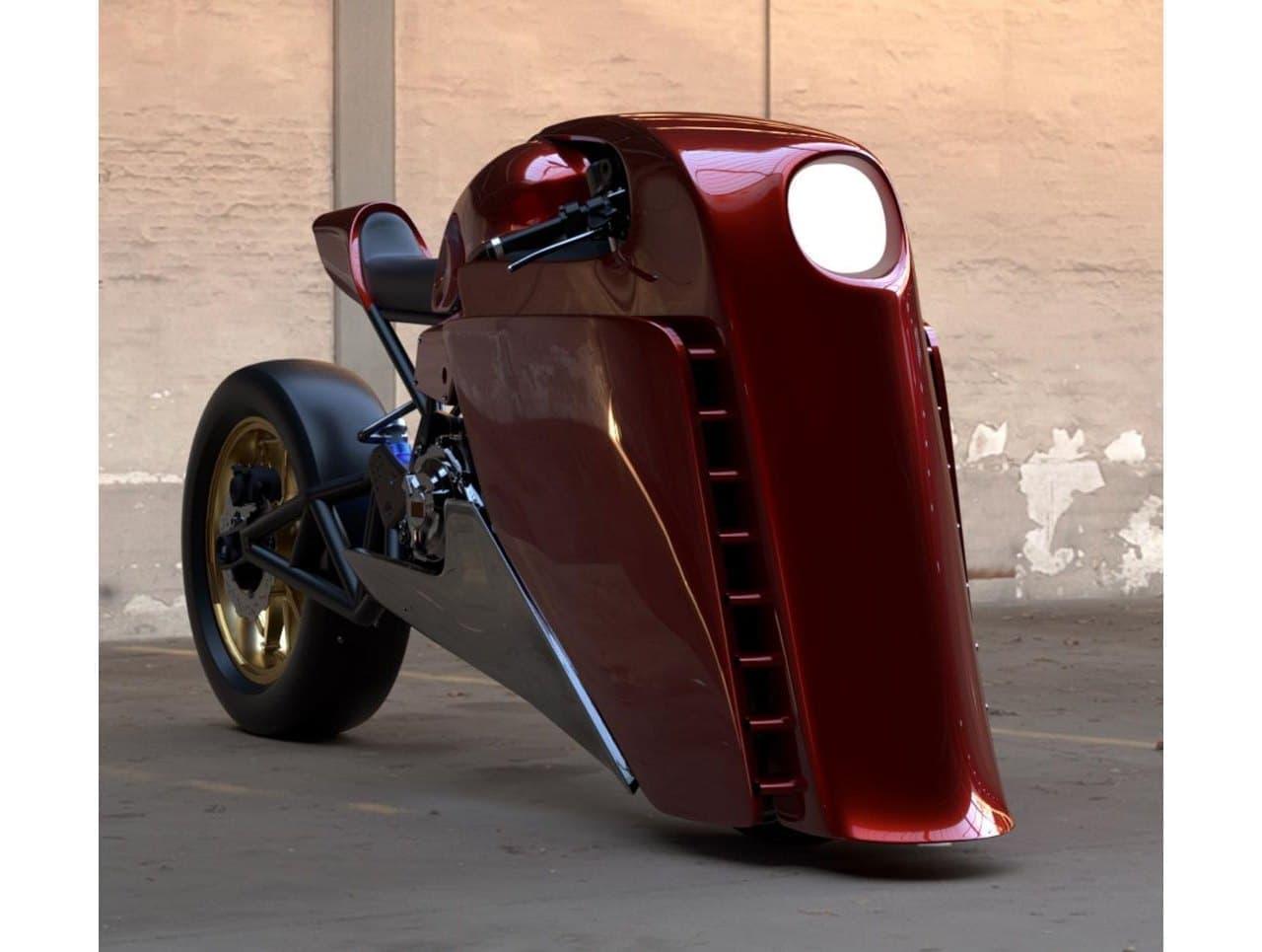 蒸気機関車?いえこれはヤマハのあのバイクベースのカスタムデザインです